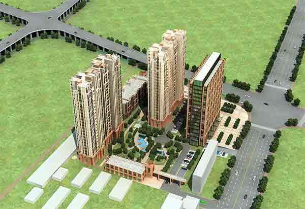 住宅区鸟瞰图-现代风格多层住宅区规划及单体建筑设计方案文本高清图片