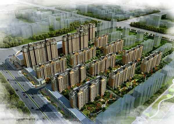 住宅区鸟瞰图-现代风格高层住宅区规划及单体建筑设计方案文本 含cad高清图片