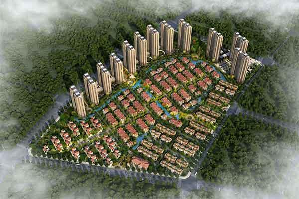 住宅区鸟瞰图-现代风格高层住宅区规划及单体建筑设计方案文本高清图片