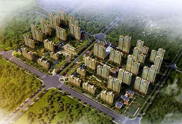 住宅区鸟瞰图-现代风格高层框架结构住宅区规划及单体设计方案文本高清图片