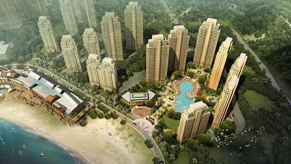 住宅区鸟瞰图-现代风格高层混合住宅区规划及单体建筑设计方案文本高清图片
