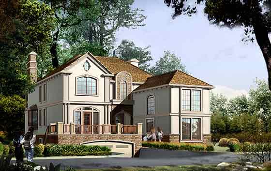 别墅区规划及单体设计施工图 含效果图高清图片