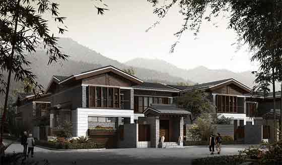 二层剪力墙结构联排别墅施工图 含效果图高清图片