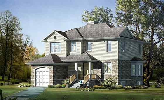 北方二层钢筋混凝土别墅美式结构建筑结构施工图(含效果图)海南乐东别墅图片