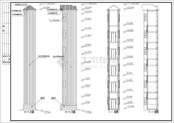 某办公楼外挂电梯井结构设计施工图
