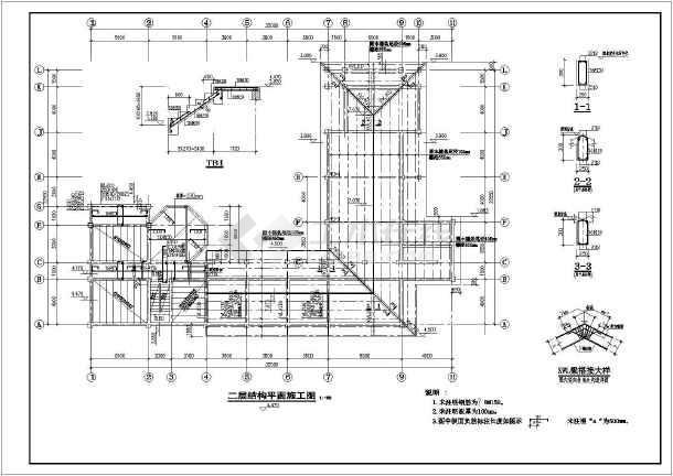 某临时建筑坡屋顶砖木结构设计施工图纸