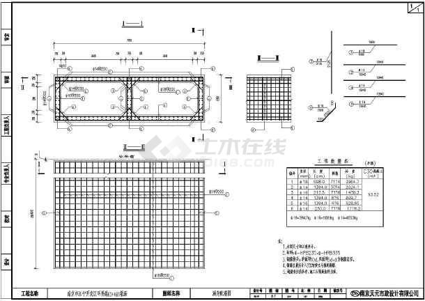 【南京】江宁开发区环形路两孔箱涵结构钢筋图-图1