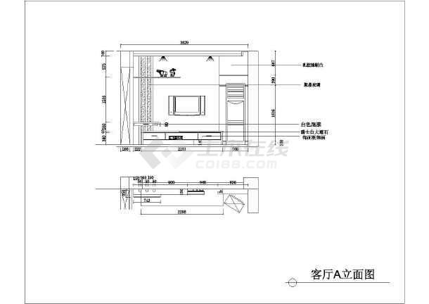 某地两室一厅一厨一卫(80㎡)户型装饰设计施工图图片3