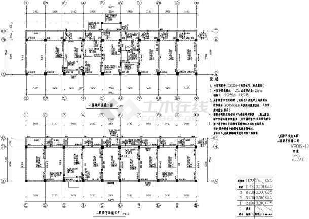 某地3层现浇钢筋混凝土框架结构办公楼结构施工图