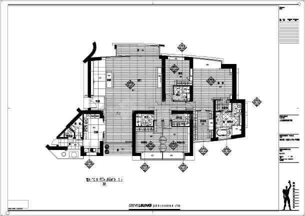 某四室两厅室内装修及电气设计施工图 图1高清图片
