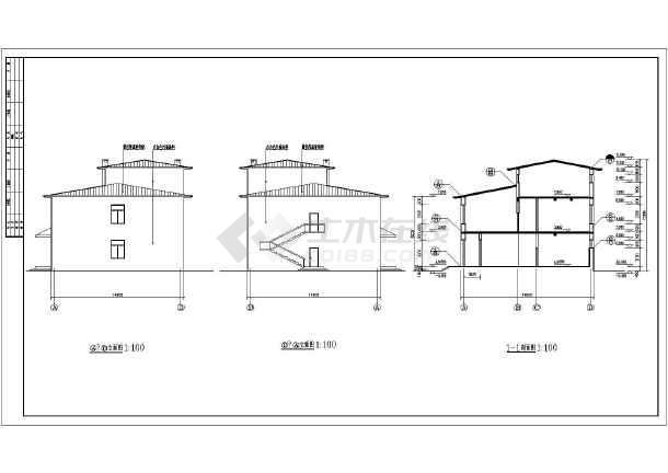某工厂两层砖混结构宿舍楼建筑设计施工图(cad图纸下载)