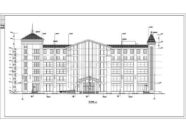 内蒙古6层框架结构特色酒店建筑设计施工图