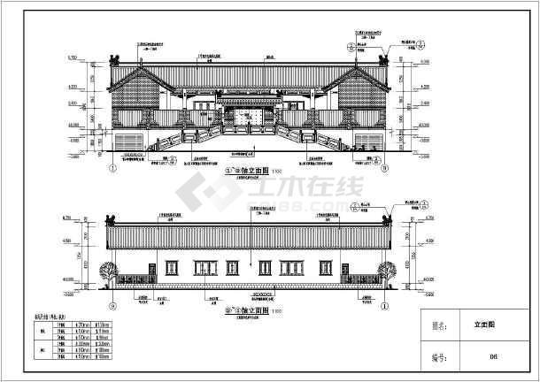 某单层带地下车库仿古别墅建筑设计施工图(含结构设计图片