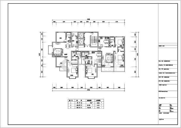 某地住宅小区一梯三户建筑户型布置图