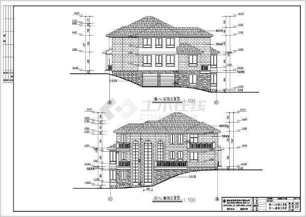 层砖混结构欧式别墅建筑设计,图纸内容包含:各层平面图,立面图,剖面图