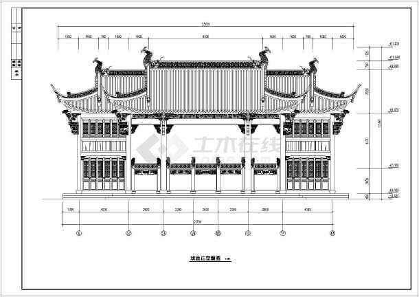某地2层框架仿古戏台建筑设计施工图