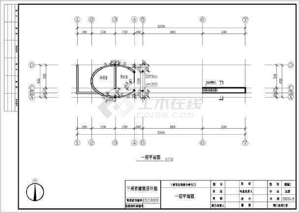 某地一层砖混结构小学门卫建筑设计施工图
