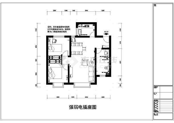 两室一厅小户装修设计平面图纸图片1