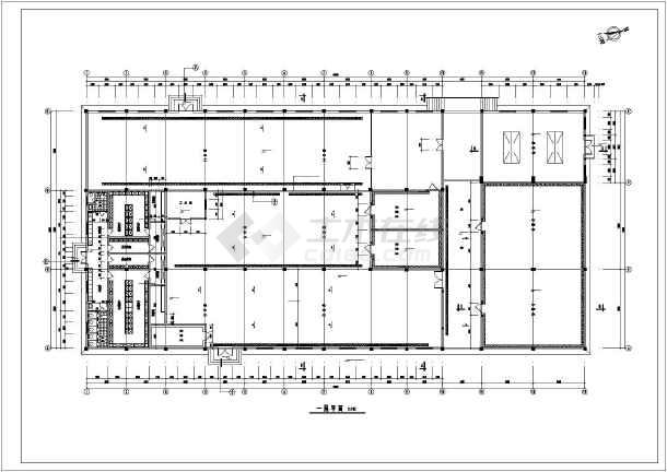 某单层冷冻食品加工厂房建筑设计图(长63米 宽30米)