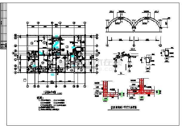 阁楼层结构平面图,一层结构平面图,基础平面图,构造柱与砖墙联接,设计