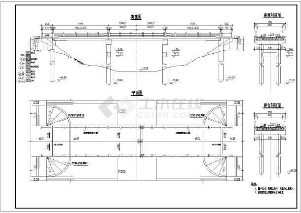 30米跨公路桥梁设计图-图1