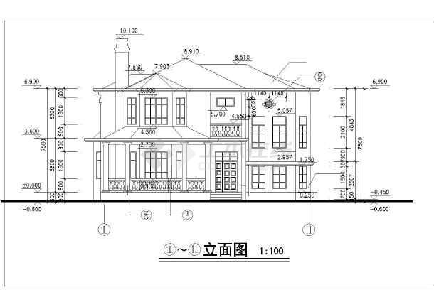 农村自建房多层小别墅建筑平立剖设计图