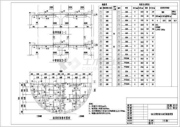 技施阶段500方圆形清水池结构钢筋图