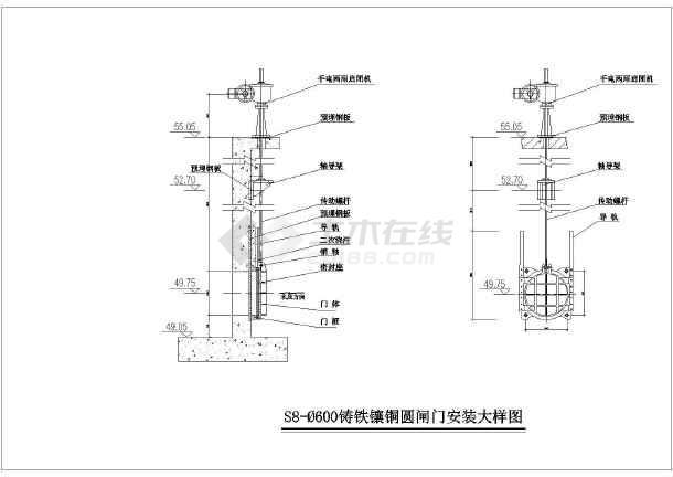 污水厂三种闸门规格常见安装施工图_cad图纸2012cad图怎么中新建层图片
