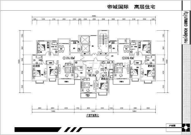 某住宅楼两梯三户平面户型设计方案