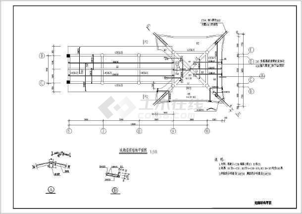 图纸内容包括:外江立面图,首层平面图,管养室屋面板结构,管养室天面梁