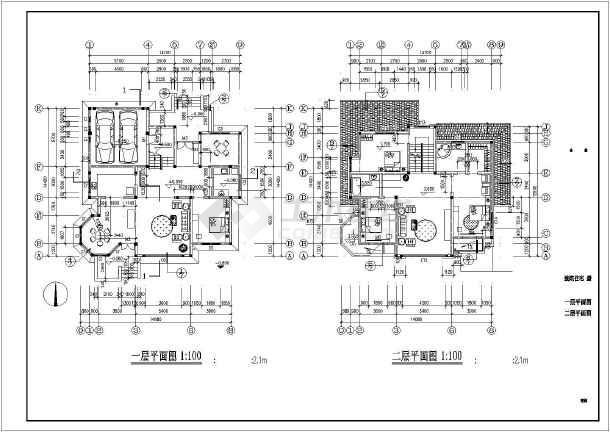 二层带阁楼中西独院式别墅建筑施工图-图3