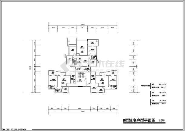 住宅户型平、立面图(含建筑面积)-图2