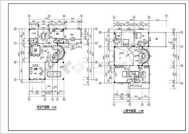 某三层别墅建筑设计图两种方案(长16米 宽11米)图片