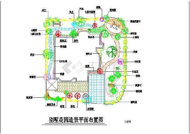 某地欧式别墅造型平面花园布置设计图海南别墅便宜图片