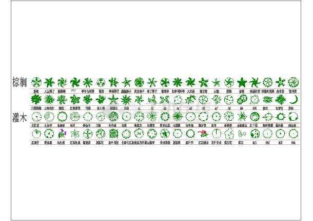 棕榈及灌木绿植图例表平面图(含树木摆放图)图片1