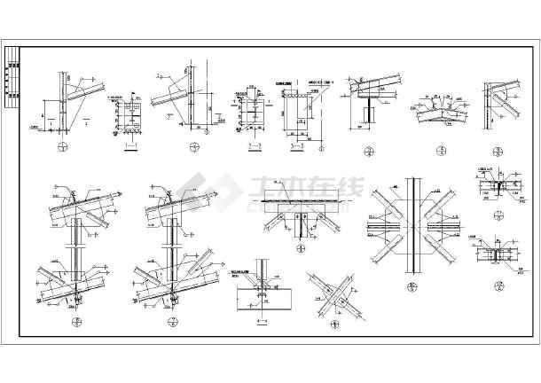 某30米封闭式钢桁架通廊结构设计施工图_cad圣翼烈风图纸图片