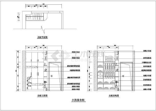 内容包含各种类型衣柜立面图,各种类型衣柜结构图,节点详图等.