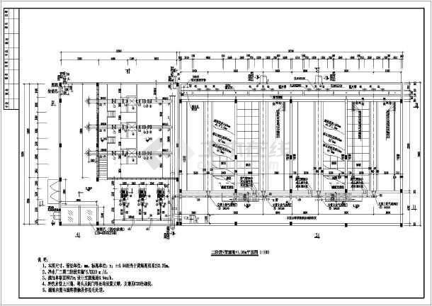 v型滤池工艺设计平面图剖面图管线布置图
