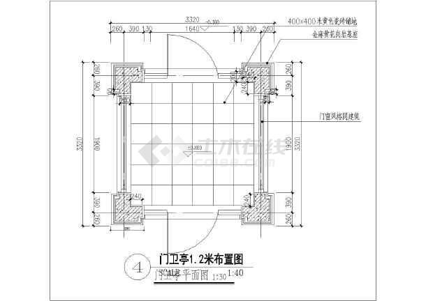 简欧式小区视频门卫室建筑设计施工图_cad图讲解图识入门图纸入口图片