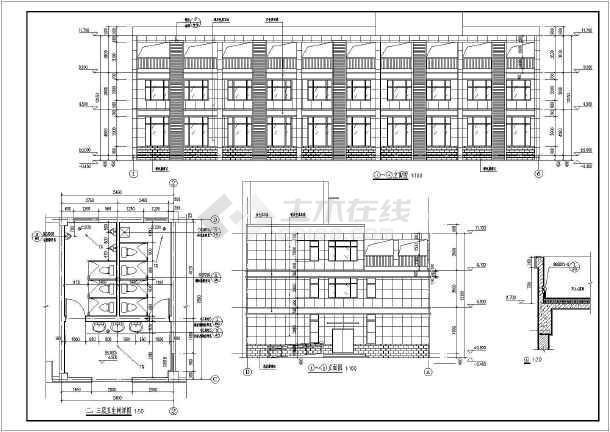 图纸 建筑图纸 医疗建筑 医院设计 某地现代建筑风格两层半病房楼建筑