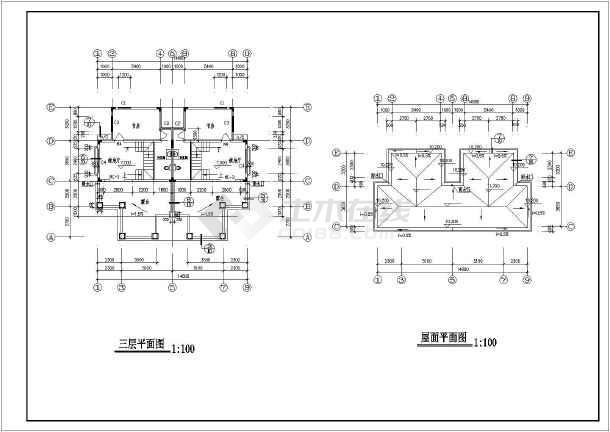 双拼长14.80米 宽12.10米农村自建房建筑设计图