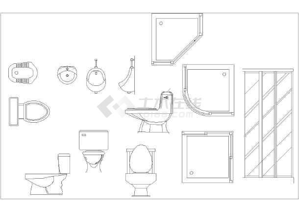 非常详细的厨房,卫生间用品图块设计(橱具,浴缸,洗手台,马桶坐便器等图片