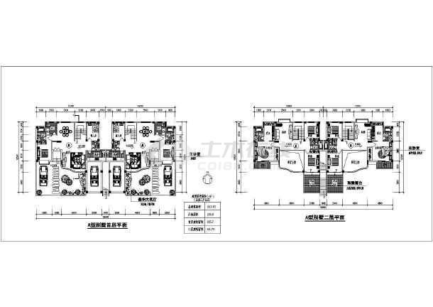 某地区叠加别墅方案图(含建筑面积)-图1