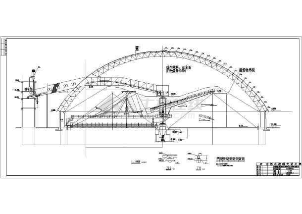 某石灰石预均化堆场经典网壳结构设计施工图-图1
