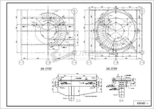 某地钢结构螺旋楼梯结构设计施工图_cad图纸下载-土木