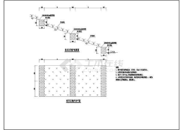 三种线性断面尺寸生态网护坡、生态袋宾格、木cad未护坡显示护坡图片