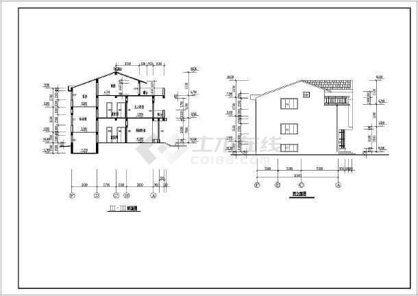 某地3层框架结构单栋错层别墅建筑方案图