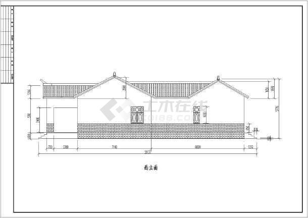 汉江某地一层农村四合院建筑设计方案图纸