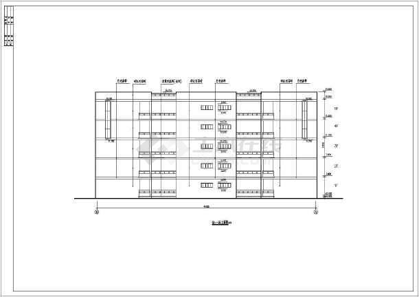 某五层框架结构学习实验楼建筑设计cad图纸(含设计说明)
