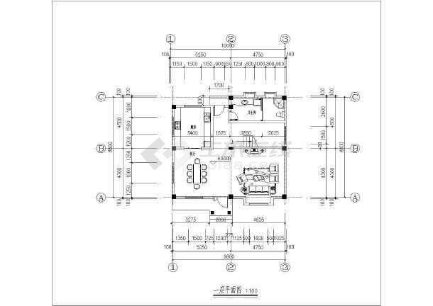 云南某新农村三层住宅楼户型平面设计方案